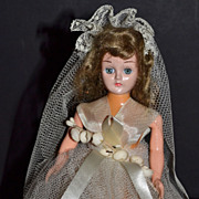 SALE 1950s Sleepy-Eye Bride Doll Cake Topper w/ Container