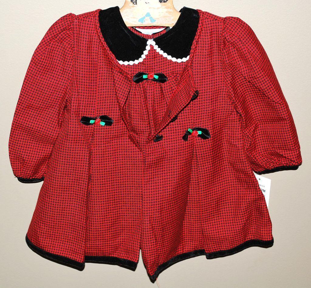 1980s Christmas Red & Velvet Black Dress w/ Overcoat For Child or Large Doll