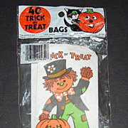 SALE 1981 Halloween Candy Bags ~ Scarecrow w/ Pumpkin