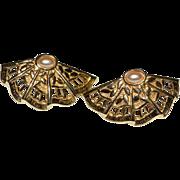 SALE 1960/70s Faux Pearl Fan-Shaped Goldtone Earrings