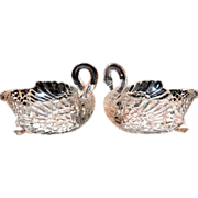 SALE Heavy Clear Glass Swan Candy or Nut Dish
