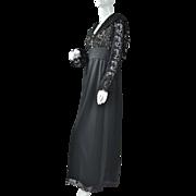 1960/70s Lord & Taylor ~ Black Lace Maxi Dress
