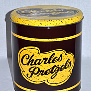 Charles Pretzels ~ Large Advertising Tin Can