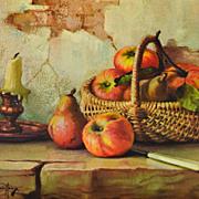 SALE 1950/60s Winde ~ Still Life w/ Apples Hardboard Art Print