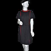 1960s Lorac ~ ILGWU Black & Red Shift Dress w/ Brass Accents