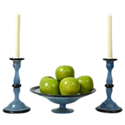Frosted Blue Glass Compote w/ Matching Candlesticks