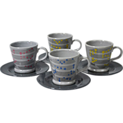 SALE Baldelli Mid-Modern Century 8-Pc Ceramic Demitasse Cup & Saucer Set