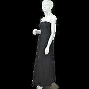 1970s Lillie Rubin ~ Black Strapless Evening Gown