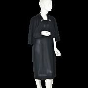 1960s Travables by Mendel ~ 2-Pc Rhinestone & Faux Pearl Black Dress w/ Jacket