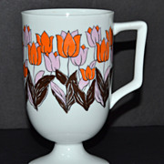 1960s Fine China Orange & Pink Tulip Pedestal Mug