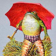 SALE Embossed Frog w/ Umbrella Die-Cut Scrap