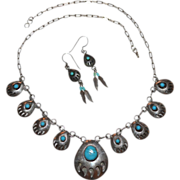 SALE Sterling & Turquoise Bear Claw Necklace & Earrings Demi-Parure
