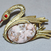 SALE Red Rhinestone & Crackled Jelly Belly Swan Pin