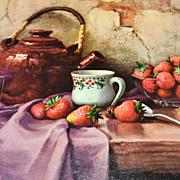 SALE 1950/60s Winde ~ Strawberries & Teapot Still Life Art Print