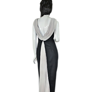 SALE Bill Levkoff Black & White Pleated Chiffon Long Maxi Dress / Formal Gown