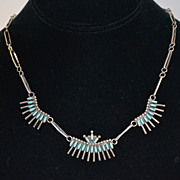 Signed Zuni Petit Point Sterling Turquoise Necklace