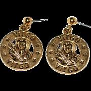 SALE 1970s Zodiac Virgo Goldtone Dangle Earrings
