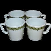SALE 1970s Pyrex Crazy Daisy or Spring Blossom Set of 4 Milk Glass Mugs