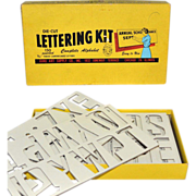 "1950s Duro Art Supply ~ 2.5"" Die-Cut Lettering Kit w/ Original Box"