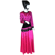 Gothic Couture Hot Pink & Black Formal Gown/Dress