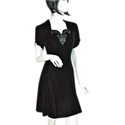 SALE Jessica McClintock Gunne Sax ~ Black Velvet & Rhinestone Mini Dress