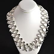 Silvertone Ribbon or Jesus Fish Link Choker Necklace