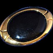 SALE Napier ~ Large Black Oval Goldtone Brooch/Pin