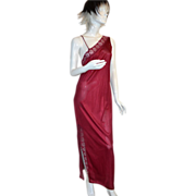 SALE 1970s Powers Model ~ Burgundy Nylon & Lace Nightgown