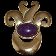 SALE 1970s Carol Dauplaise ~ Large Gemstone & Goldtone Brooch/Pin