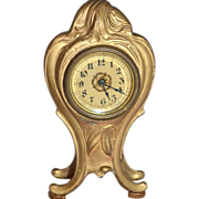 SALE 1920s Western Clock Co. ~ Art Nouveau Style Ornate Metal Table Clock