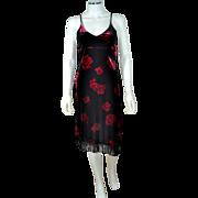 SALE Dawn Joy ~ Deco-Inspired Black Velvet Red Rose Fringe Dress