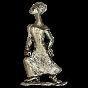 SALE 1982 Inge ~ Large Stylized Nubian Lady Pewter Brooch/Pin