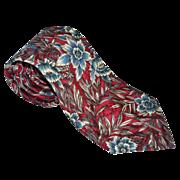 SALE Oscar de la Renta ~ Blue Flower Crimson Red Tie