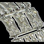 SALE 1950s Coro ~ Huge Silvertone Bamboo Design Link Bracelet