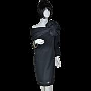 SOLD 1950s Lilli Diamond ~ Rhinestone & Beaded Off-the-Shoulder w/ Huge Bow Black Dress