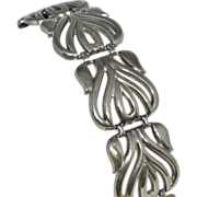 SALE 1970s Gothic Mexican Motif Wide Silvertone Link Bracelet