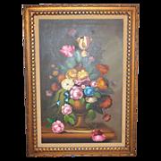 "SALE Nancy Lee Signed Massive 43"" Still Life Vase of Flowers Framed Oil Painting"