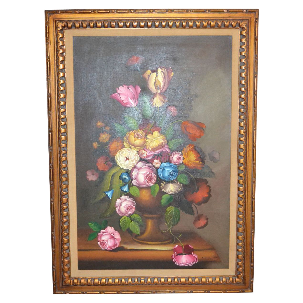 "Black Flower Watercolor Art By Tae Lee: Nancy Lee Signed Massive 43"" Still Life Vase Of Flowers"