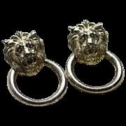 SALE Lion Head Doorknocker Pierced Earrings
