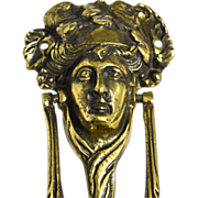 SALE Antique English Brass Bacchus or Dionysus Figural Doorknocker