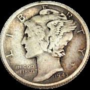 SALE 1943 Mercury Silver Dime Coin