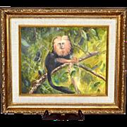 SALE Original Golden Lion Tamarin Monkey Framed Oil Painting
