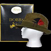 SALE 1960s Dobbs ~ Olive Green Suede Fedora w/ Original Box