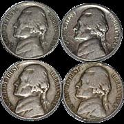 SALE 1939-1942 Set of 4 Thomas Jefferson U.S. American Nickels