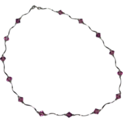 SALE 14K White Gold & Diamond-Shaped Amethyst Necklace