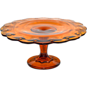 SOLD Indiana Glass Amber Glass Teardrop Pedestal Cake Stand