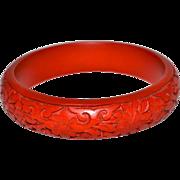 SALE Carved Red Cinnabar Bangle Bracelet