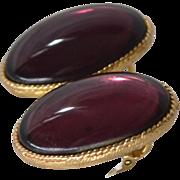 SALE 1950s Large Purple Cabochon Leverback Pierced Earrings