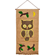 SALE 1970s Owl Macrame & Burlap Wall Hanging Decor