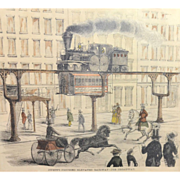 SOLD Circa 1855 Swett's Proposed Elevated Railway For Broadway Framed Color Engraving / Steamp